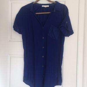 Super long cobalt blue tunic